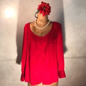 Talbots Bright Red Holiday Silk Stretch Top